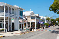 KEY WEST, FLORIDA USA - APRIL 13, 2015: The historic and popular center and Duval Street in downtown Key West. Royalty Free Stock Image