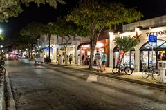 Duval street at night, Key West, FL Royalty Free Stock Photography
