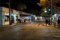 Duval street at night, Key West, FL Stock Photography