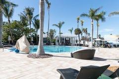 24 North Hotel Backyard pool. Key West, Florida USA - January 18, 2018: 24 North Hotel Backyard pool stock photos