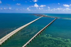 Key west island florida highway and bridges over the sea aerial view. Panorama stock photos