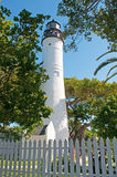 Key West Lighthouse, white fence, view, Keys, Cayo Hueso, Monroe County, island, Florida. Key West, Keys, Cayo Hueso, State of Florida, Sunshine State, coast royalty free stock images