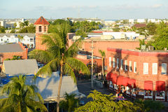 Key West Old Town, The Keys, Florida, USA. Aerial view of Key West Old Town on Front Street and the Wachovia Center Building in Key West, Florida, USA Stock Photo