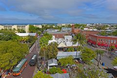 Key West Old Town, The Keys, Florida, USA. Aerial view of Key West Old Town on Front Street and the Wachovia Center Building in Key West, Florida, USA Royalty Free Stock Images