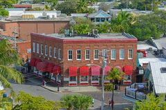Key West Old Town, The Keys, Florida, USA. Aerial view of Key West Old Town on Front Street and the Wachovia Center Building in Key West, Florida, USA Royalty Free Stock Photography