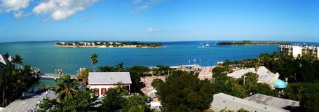 Key West Panorama. The panoramic view of Key West town and surrounding islands (Florida royalty free stock images