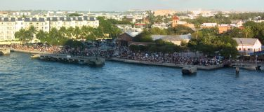 Key West Panorama. Hundreds of people watching sunset at Mallory Square, Key West, Florida Royalty Free Stock Photos
