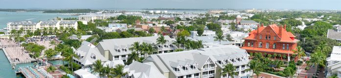 Key West Panorama. Very large wide angle panorama of Key West, Florida. On left, Mallory Square. On right the red Old Customs House Stock Image