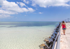 Key West Pier. Stretches out into the ocean Landscape Stock Image