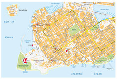 Key west road map with road names Royalty Free Stock Image