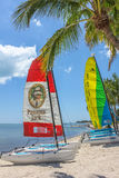Key West sailing boats. Key West, Florida, United States - April 12, 2012: colorful catamaran sailboats on shore in Smathers Beach. Smathers Beach is famous for Royalty Free Stock Images