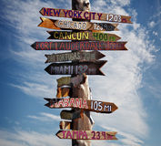 Key west sign. Directional signpost located in key west florida Royalty Free Stock Photo