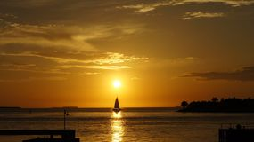 Key West sunset. Sunset with boat on Key West usa sea Stock Photos