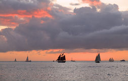 Key West sunset, Gulf of Mexico with yachts and boats on the background Stock Image