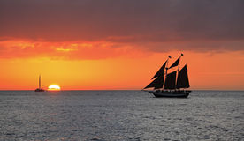 Key West sunset, Gulf of Mexico with yachts and boats on the background Royalty Free Stock Images