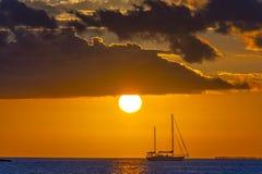 Key West Sunset sail boat stock images