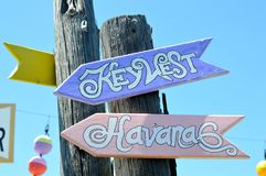 Key West to Havana signs Stock Photography