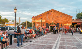 KEY WEST, USA - JANUARY 2016: People awaits sunset at Mallory Sq Royalty Free Stock Image