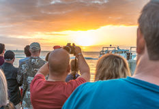 KEY WEST, USA - JANUARY 2016: People awaits sunset at Mallory Sq Royalty Free Stock Photos