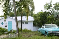 Key West vintage parked car in South Florida Stock Photography