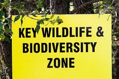 A key wildlife and biodiversity zone sign.  royalty free stock photography