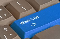 Key for wish list. Keyboard with key for wish list Royalty Free Stock Photography