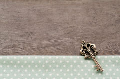Key on wood textured background. Dot textile texture, key on wood textured background Royalty Free Stock Photos