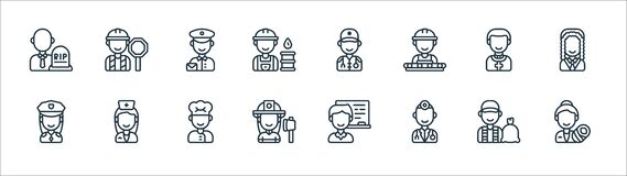 Free Key Workers Line Icons. Linear Set. Quality Vector Line Set Such As Midwife, Doctor, Firefighter, Police Officer, Priest, Postman Royalty Free Stock Images - 192544349