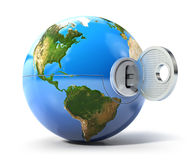 Key of the world. Earth globe with lock and key (3d render Stock Photos