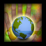 Key world in hand Royalty Free Stock Image