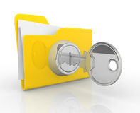 Key and yellow folder Royalty Free Stock Photo