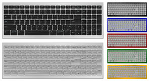 Keyboard with 100 keys. Vector illustration. Realistic art of keyboard with 100 keys in 7 colors Royalty Free Illustration