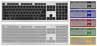 Keyboard with 104 keys. Vector illustration. Realistic art of keyboard with 104 keys in 7 colors Stock Photography