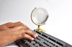 Keyboard. Computer key board with white global symbol Stock Photo