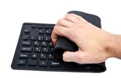 Keyboard. Flexible keyboard, isolatet on white Royalty Free Stock Photos