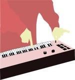 Keyboard. A illustration of a musician playing keyboard stock illustration