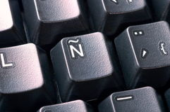 Keyboard. Close up on typical spanish key Royalty Free Stock Images