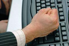 Keyboard. Male hand down on keyboard Stock Photos