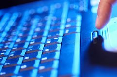 Keyboard. Working on keyboard. Image specialy made with soft focus and blue tint Stock Photography