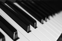 Keyboard. Piano keys, shallow depth of field Royalty Free Stock Images