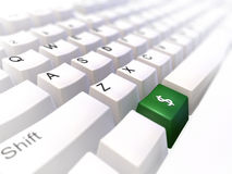 Keyboard. White keyboard with green button and simbol of dollar royalty free illustration