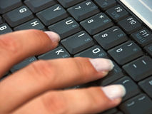 Keyboard 3. Keyboard and fingers Royalty Free Stock Photo