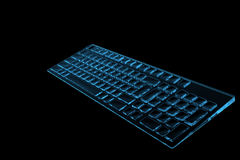 Keyboard 3D rendered xray blue Royalty Free Stock Photography
