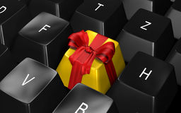 Keyboard. Black keyboard with a gift-button Royalty Free Stock Photos