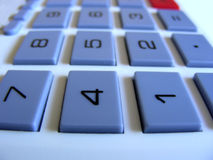 Keyboard. Number keys, keyboard on solar powered calculator Stock Images