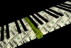 Keyboard. Piano Keyboard With Gold Key On Black Stock Photo