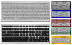Keyboard with 84 keys. Vector illustration. Realistic art of keyboard with 84 keys in 7 colors Stock Image