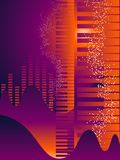 Keyboard abstract background. Keyboard on a vector background of musical symbols vector illustration