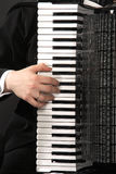 The keyboard of an accordion with a hand. Of the musician Royalty Free Stock Photography