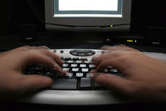 Keyboard adn hands Stock Photography